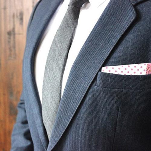 Wooden Pocket Square | Pink Dots