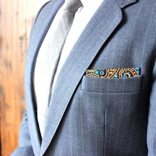 Wooden Pocket Square | Engraved Paisley | Baffi | Royal Blue