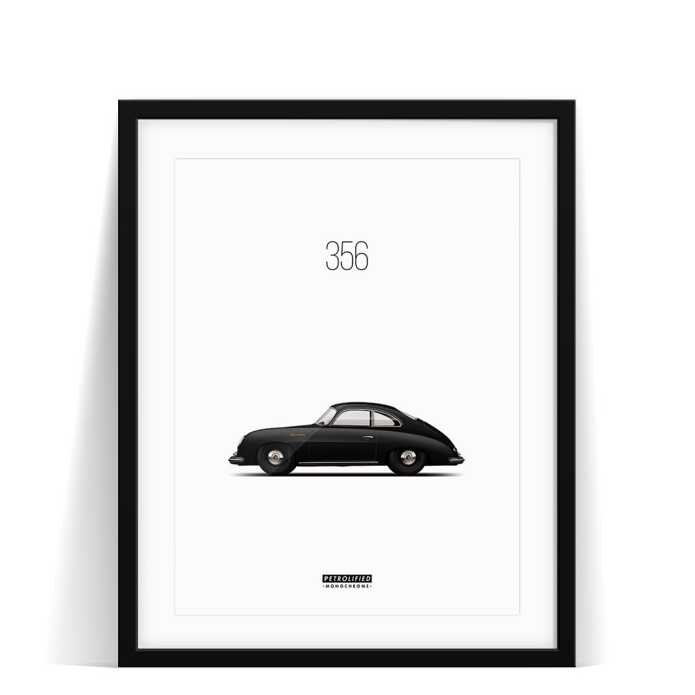 car prints, Porsche 356 Monochrome, luxury car art