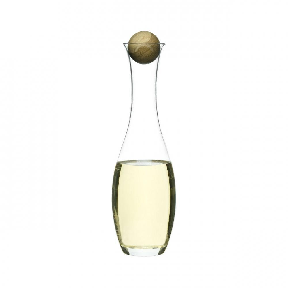 White Wine Or Water Glass Carafe with Oak Stopper   Sagaform