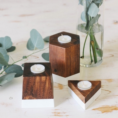 Dipped Geometric Candle Holder, Set of 3