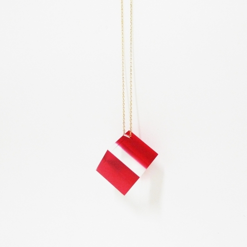 Acrylic Cube Necklace, Red