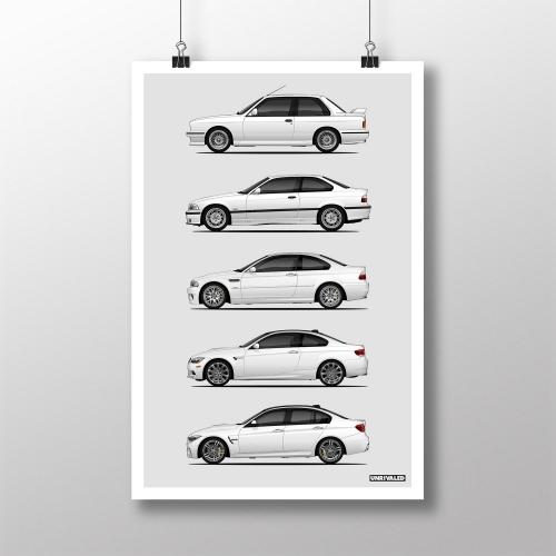 BMW M3 Generations Print