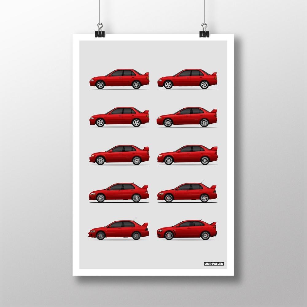 Mitsubishi Lancer Evolution Generations Print, Unrivaled