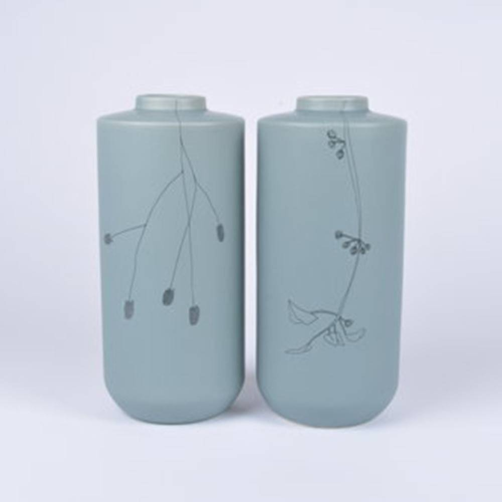 Flor Vase, Set of 2 - Floral Ceramic Vase by Dutch Ceramicist Elke van den Berg