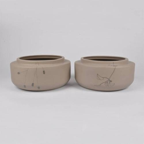 Flor Bowl, Set of 2 - Floral Ceramic Bowl by Dutch Ceramicist Elke van den Berg