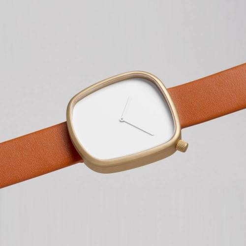 Pebble 05 - Golden Steel on Brown Leather Strap Watch