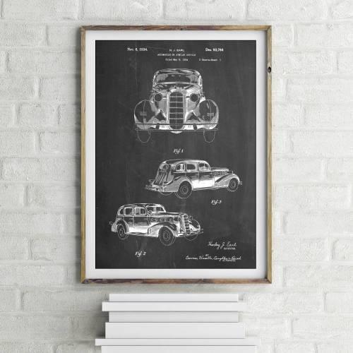 Cadillac La Salle 1934 Patent Print - Patent Prints