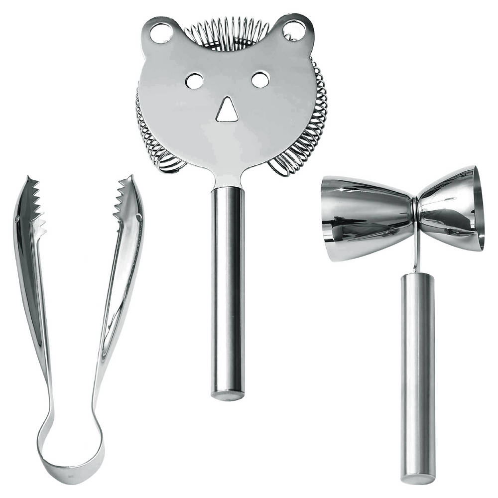 Faces 3-Piece Bar Set - A Collection of Bar Tools with Highly Functional, Whimsy Designs