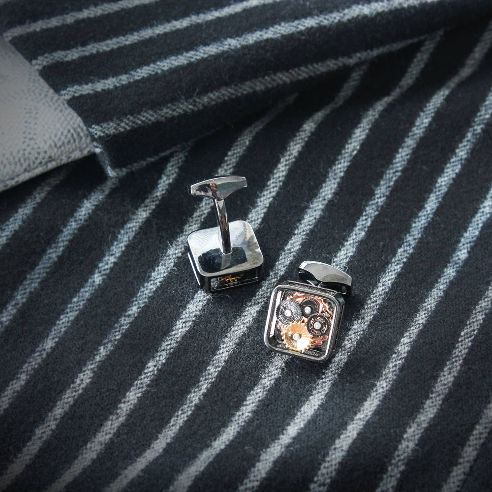 Square Skeleton - Steel Cufflinks made from Watch Movements