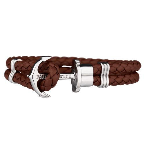 PHREP Leather Bracelet, Brown/Silver