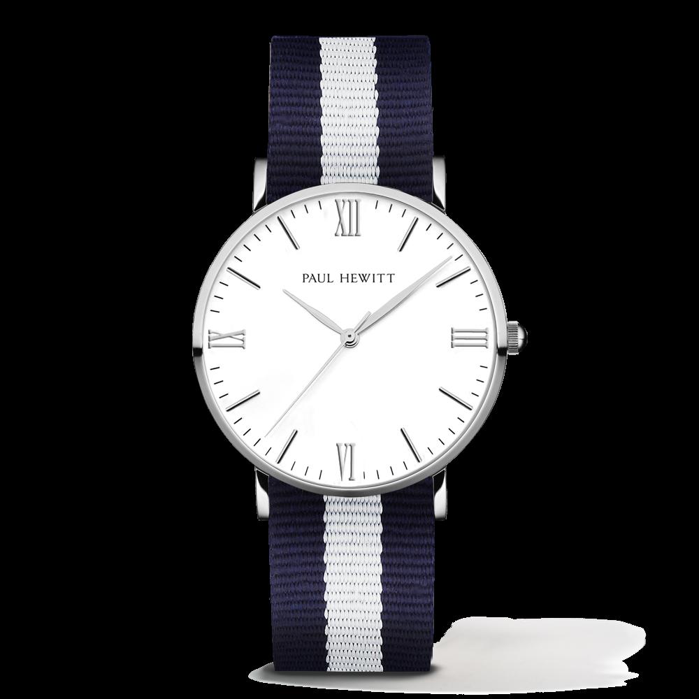 Silver Line Watch, Navy/White - Paul Hewitt