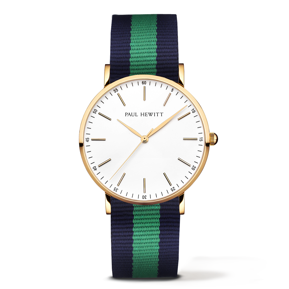 Gold Line Watch, Navy/Green - Paul Hewitt