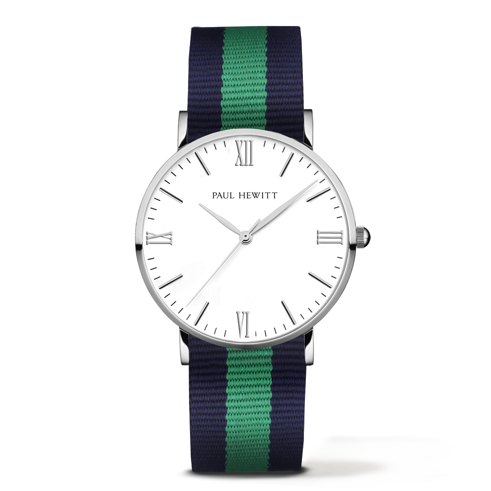 Silver Line Watch, Navy/Green - Paul Hewitt
