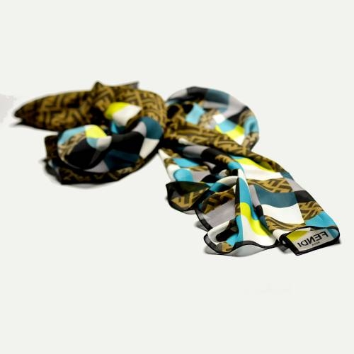 Fendi Scarf, Aqua and Yellow Print