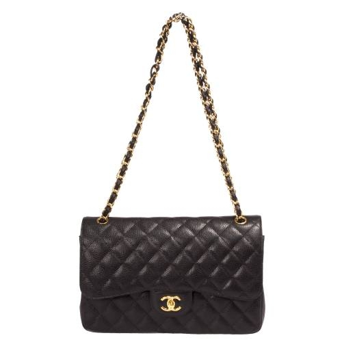 Jumbo Chanel Classic Double Flap Bag Caviar Calfskin Leather