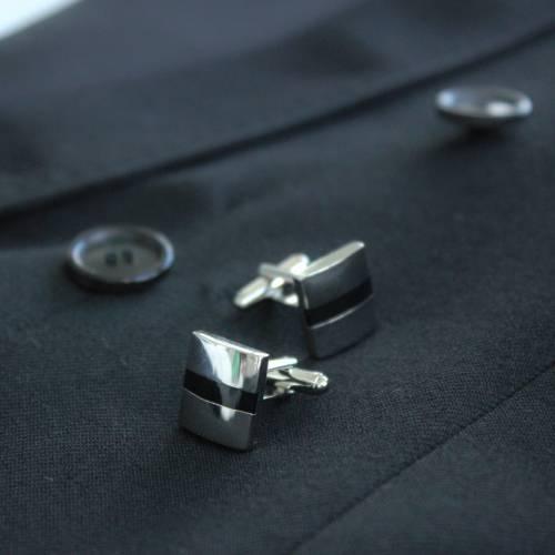 Silver & Black Lined Cufflink - FlipMyTie
