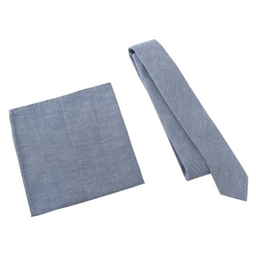 'Fickle Pickle' Navy Tie with Pocket Square