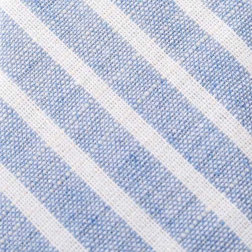 Blue and White Striped Tie with Tie Clip