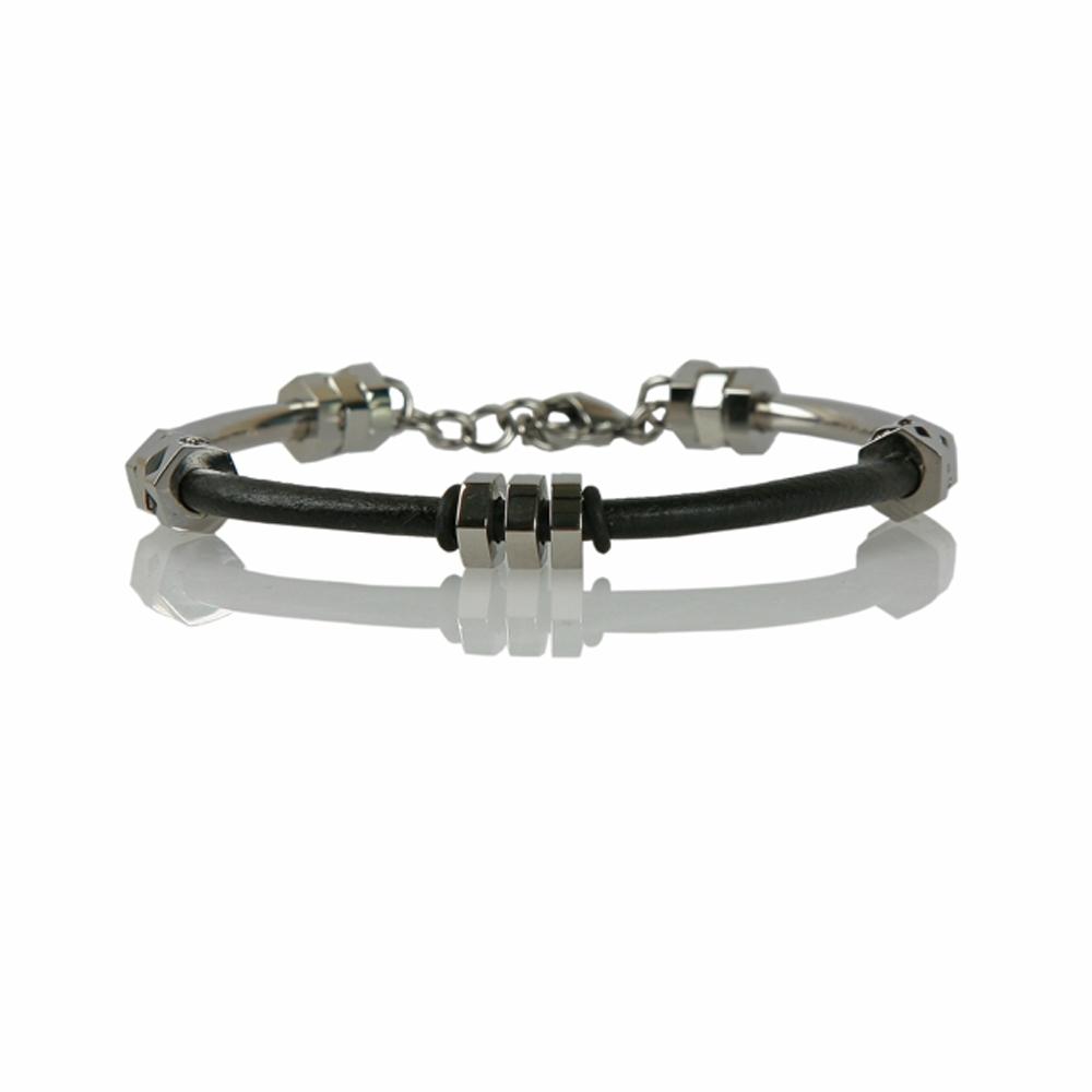 Black and Silver Leather and Steel Bracelet - Buttigo