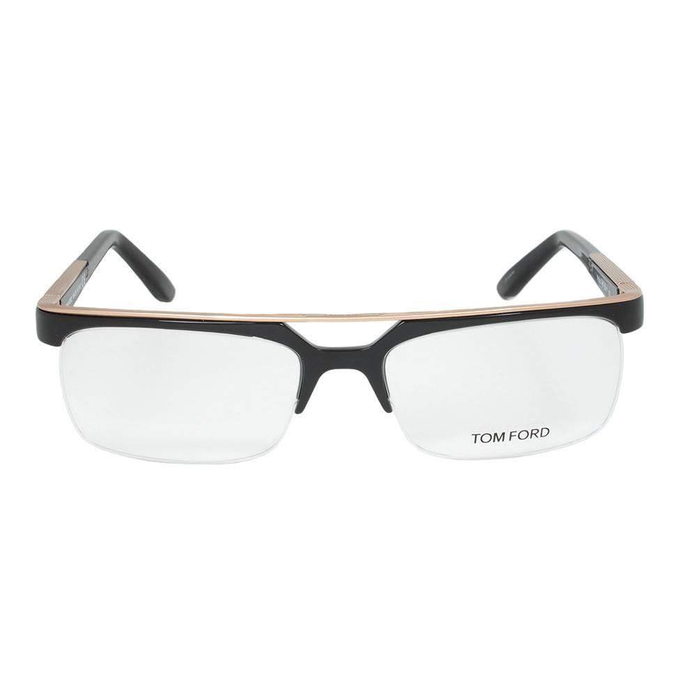 Black/Gold Rectangular Eyeglasses Frame | Size 55