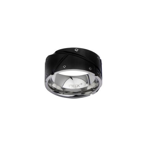 Men's Black IP with Screw Head Ring. | Inox Jewelry