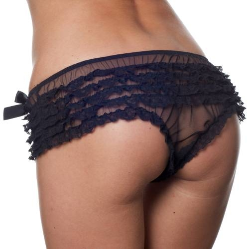 Playful Promises | Black Frilly Brief
