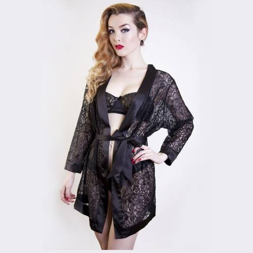 Scarlett Black Lace Robe