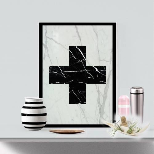 Marble Cross Art Piece
