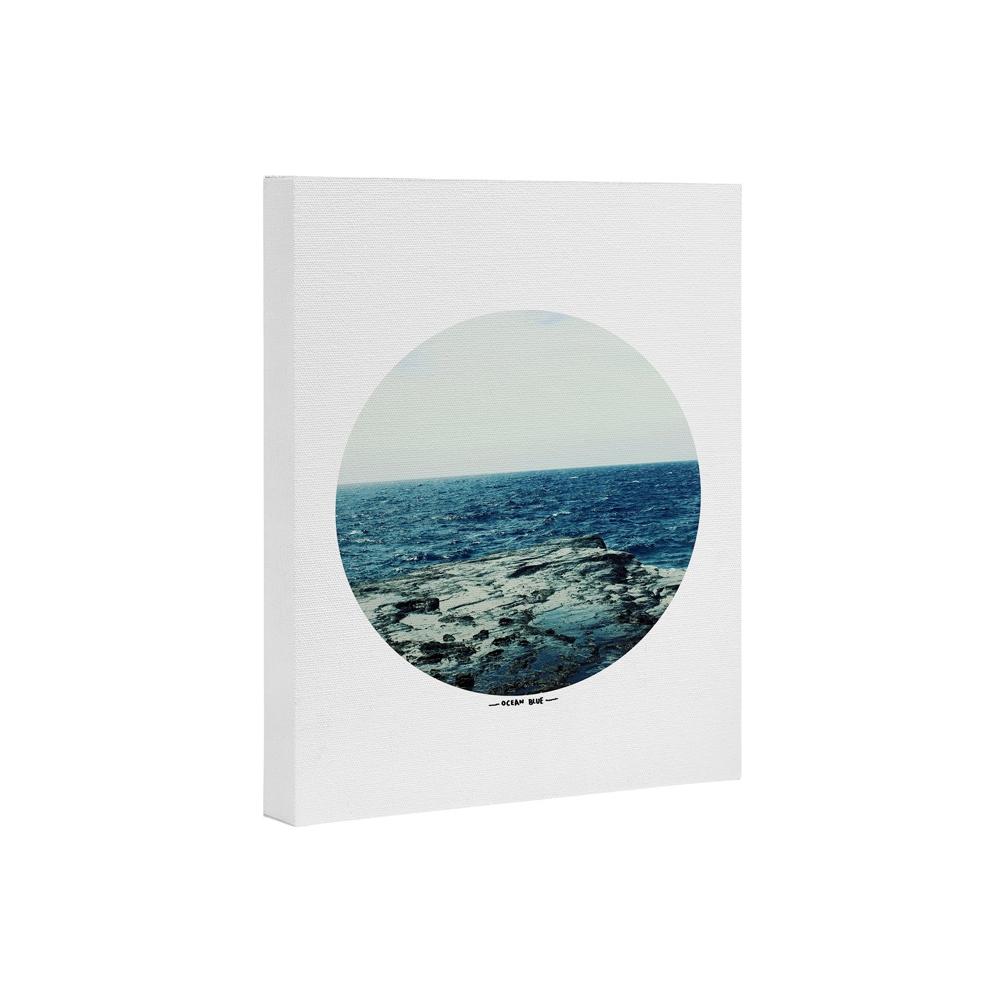 Leah Flores Ocean Blue Art Canvas   Deny Designs
