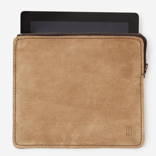 East/West iPad Pouch Suede | Tan