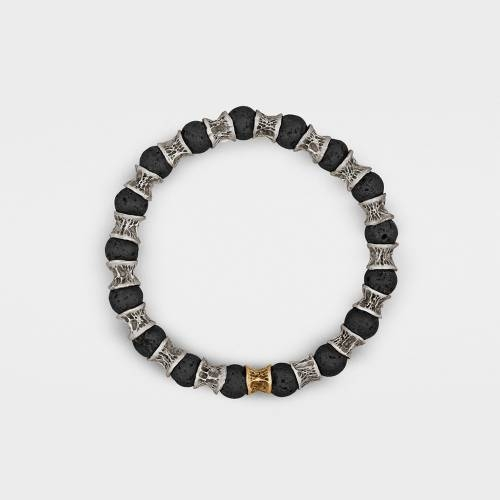 Silver Bracelet | 1 Gold Link | Lava Beads