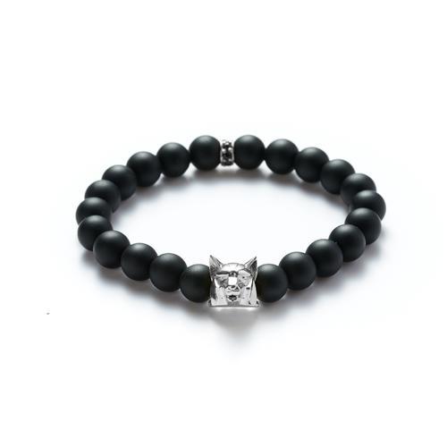 Onyx | Silver Wolf Bracelet