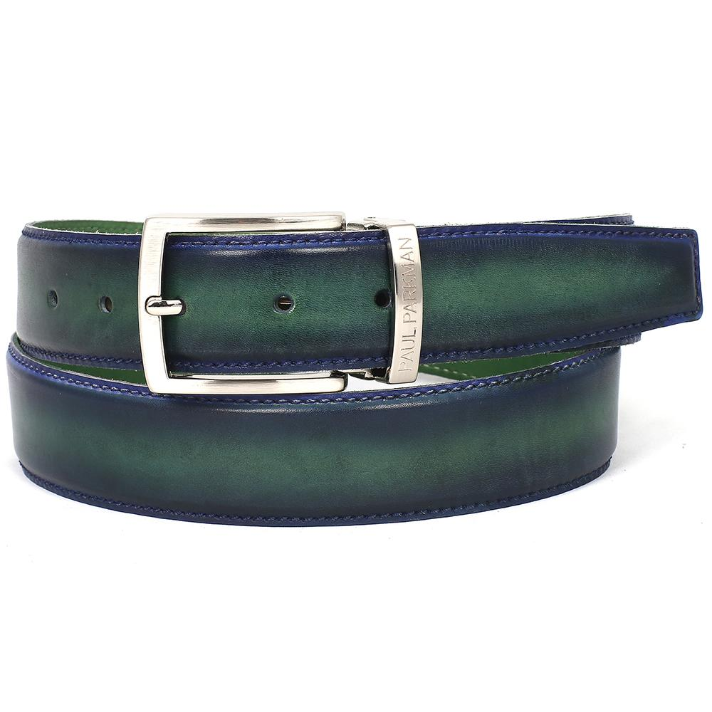 Men's Leather Belt Dual Tone   Blue & Green