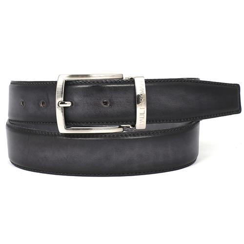 Men's Leather Belt Dual Tone | Gray & Black