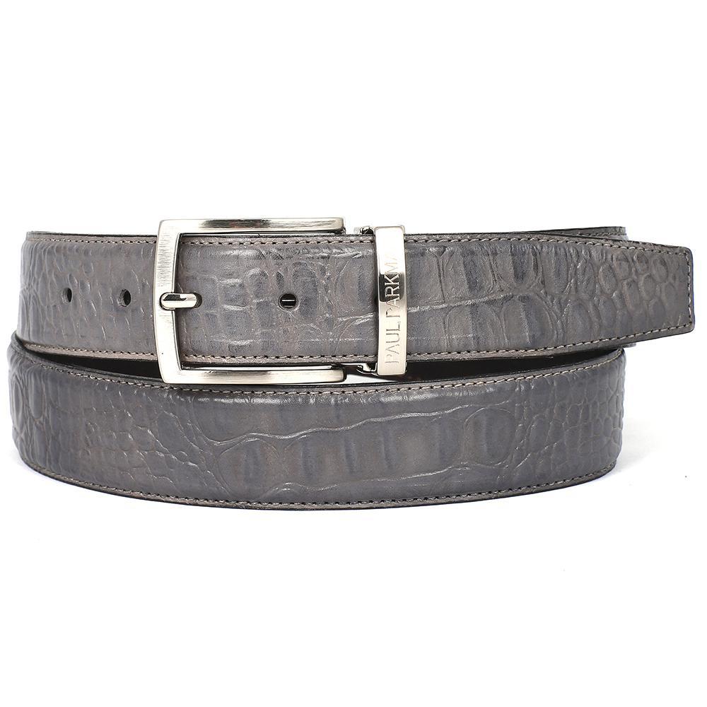 Men's Crocodile Embossed Calfskin Leather Belt   Gray