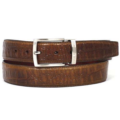 Men's Crocodile Embossed Calfskin Leather Belt | Olive