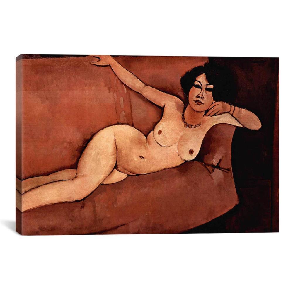 Nude on Sofa (Almaisa) by Amedeo Modigliani Canvas Print
