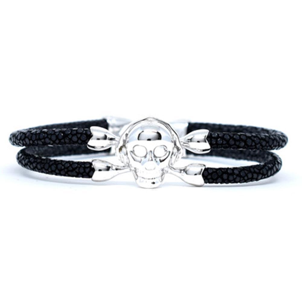 Skull Bracelet   Black with Silver Skull   Double Bone