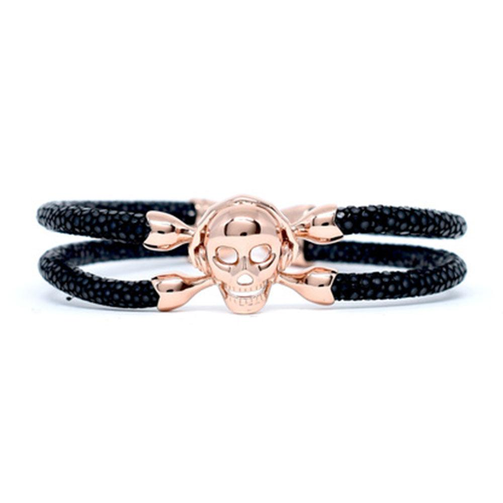 Skull Bracelet | Black with Rose Gold Skull | Double Bone