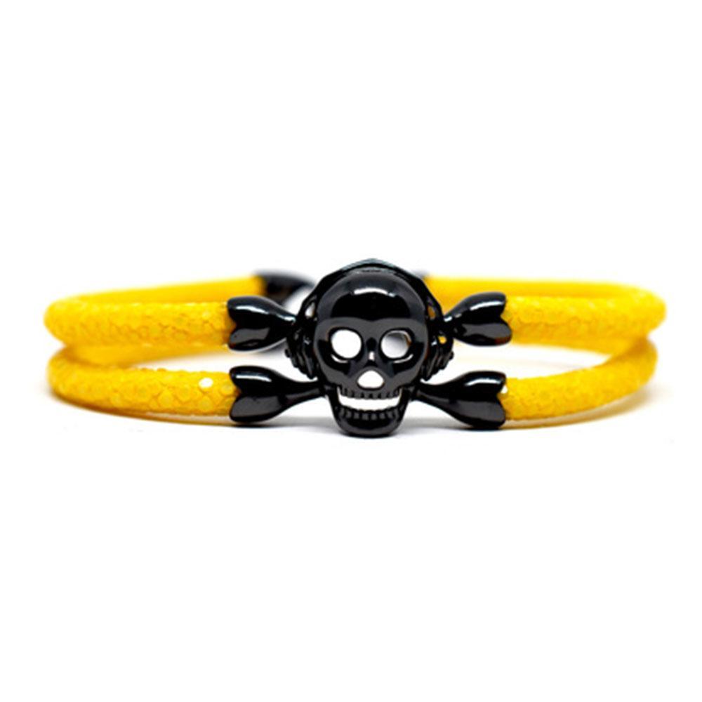 Skull Bracelet   Yellow with Black Skull   Double Bone