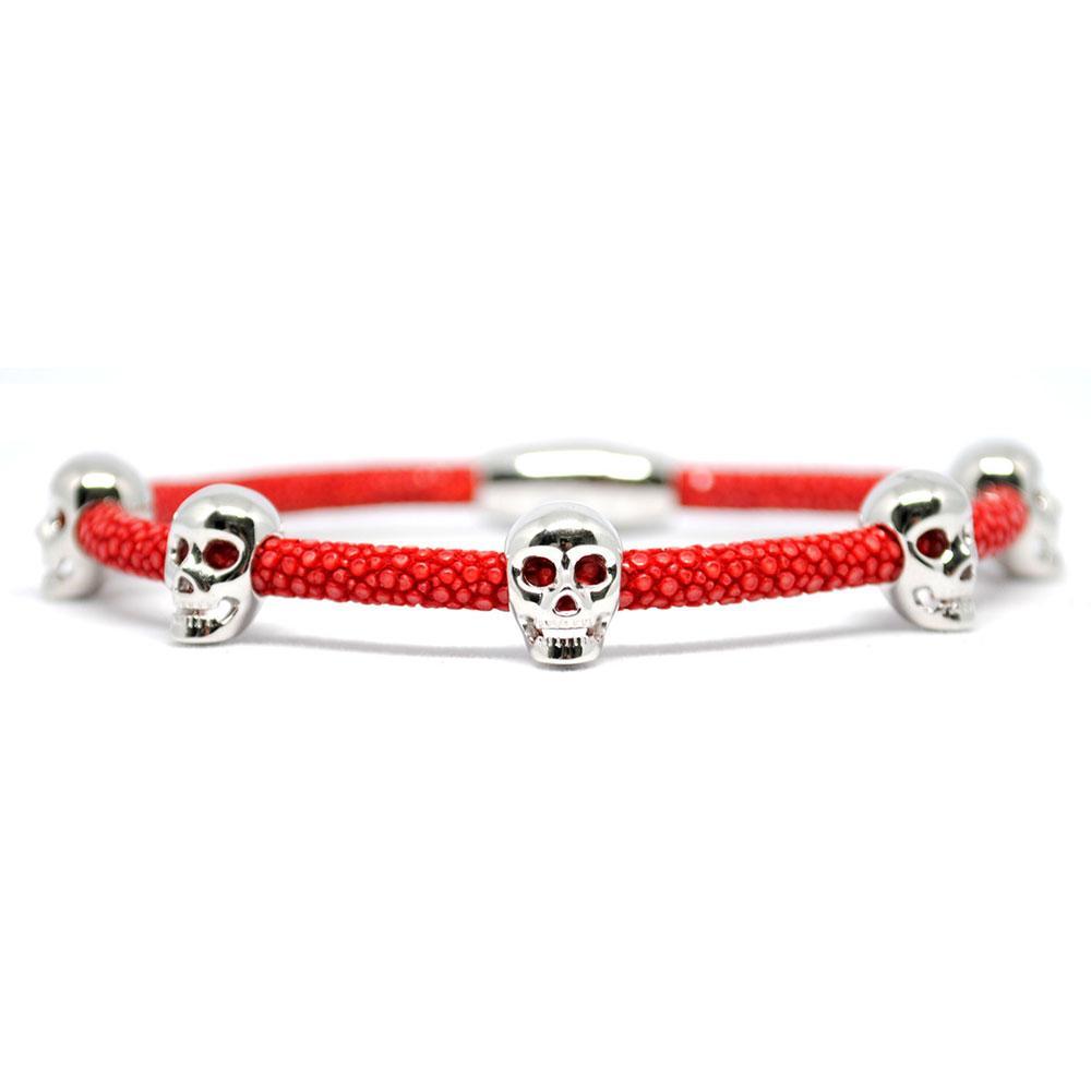 Skull Bracelet | Red with Silver Skulls | Double Bone