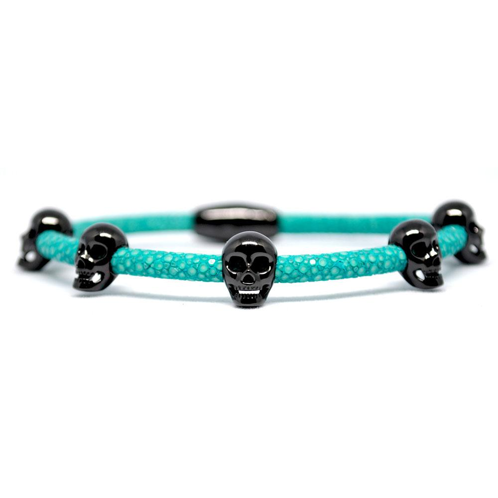 Skull Bracelet | Turquoise with Black Skulls | Double Bone