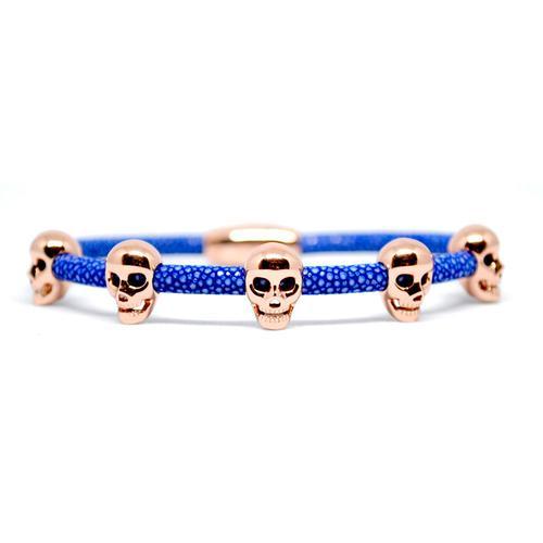 Bracelet | Multi Skull | Blue/Rose Gold