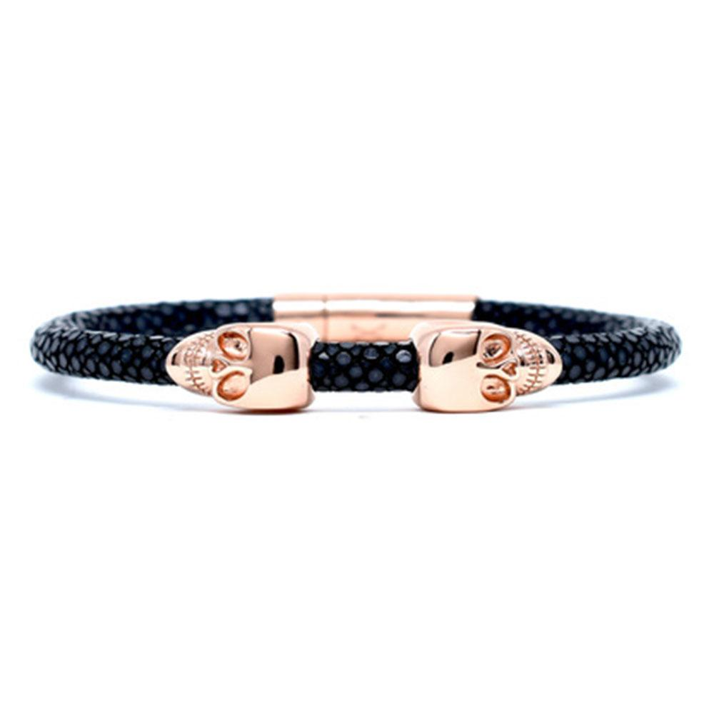 Skull Bracelet | Black | 2 Rose Gold Skulls | Double Bone