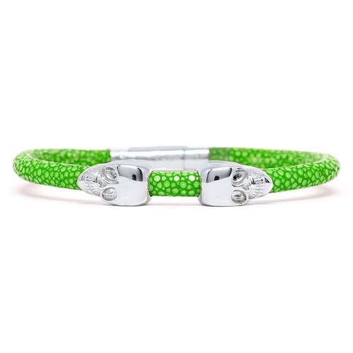 Bracelet | 2 Skulls | Green/Silver