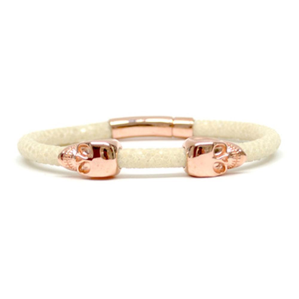 Skull Bracelet | White | 2 Rose Gold Skulls | Double Bone