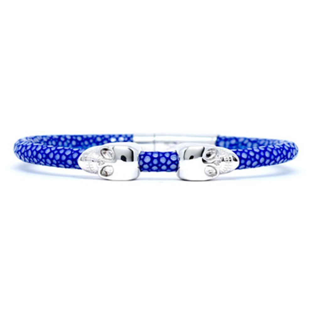 Skull Bracelet | Blue | 2 Silver Skulls | Double Bone