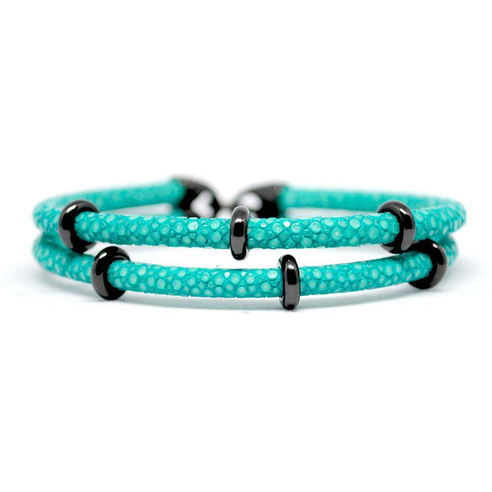 Double Stingray Bracelet | Turquoise & Black | Double Bone