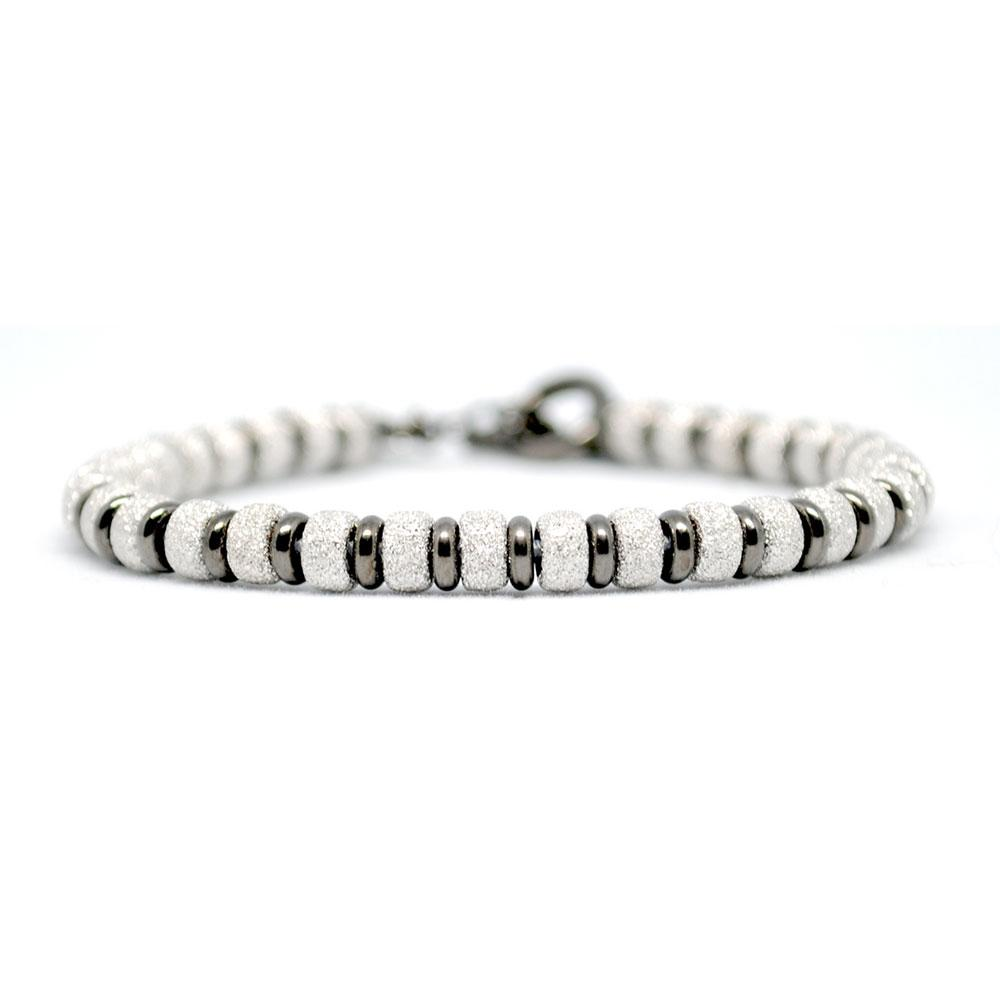 Multi Beaded Bracelet | White Gold/Black Beads | Double Bone